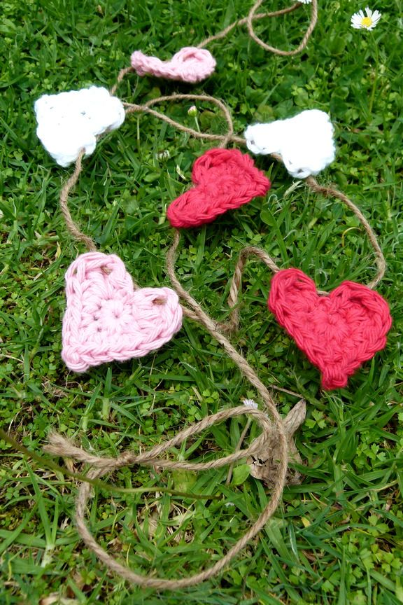 Sweet love heart bunting in marshmallow colours. 100% cotton ~ Handmade crochet www.facebook.com/thelittlebeenz