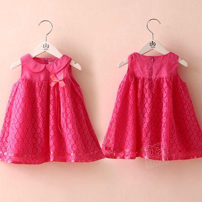 2016 лето детская одежда девочек лук кукла воротник жилет юбка платье женского пола ребенка ребенка QZ-1589