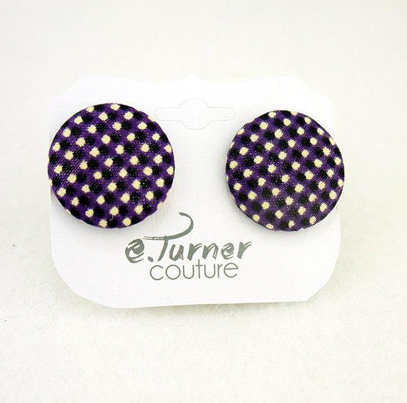 Purple Checkered Print Button Earrings  Ankara by ETurnerCouture