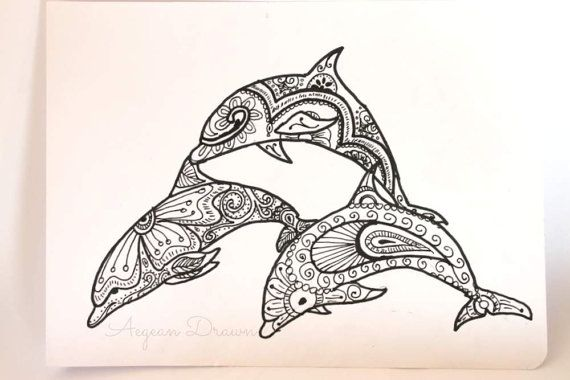 Dolphin Drawing, Bottlenose Dolphin Zentangle Art, Zen Dolphin Illustration, Henna Style Dolphin Drawing, Ornate Dolphin Pen and Ink Drawing