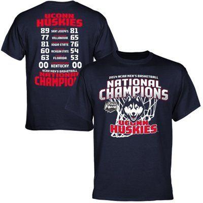 UConn Huskies 2014 NCAA Men's Basketball National Champions All Score T-Shirt - Navy Blue