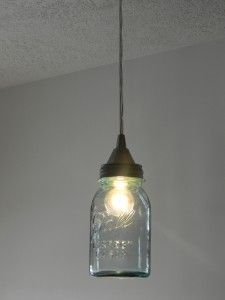 Ball jar pendant light!  I want to make two of these, one for each side of the bed.  This blog (Organize & Decorate Everything) provides an excellent tutorial, though I would try to use Ikea pendant switches rather than repurposing the bones of a different pendant.