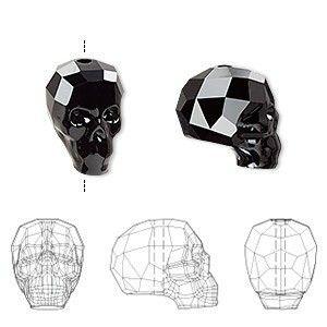 Faceted skull bead jet