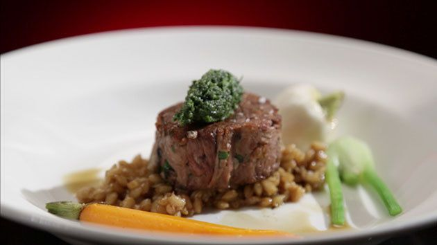 MKR4 Recipe - Lamb Roulade with Smoked Carrots and Mint Pesto