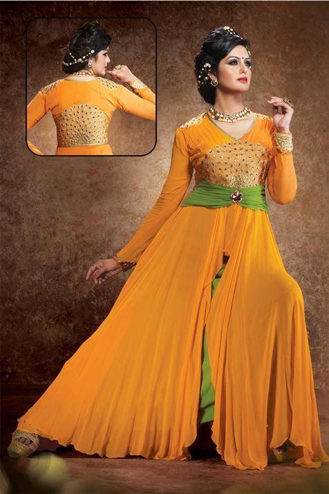 Shimmering Orange, Pastel Green Georgette  Resham Embroidered Ankle Length Anarkali Salwar Suit
