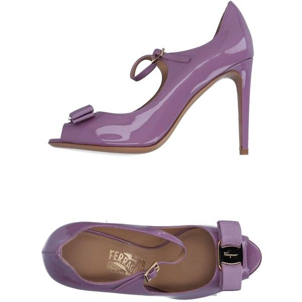 Salvatore Ferragamo Court ($430) ❤ liked on Polyvore featuring shoes, pumps, light purple, bow pumps, ankle strap stilettos, lavender pumps, open toe shoes and heels stilettos