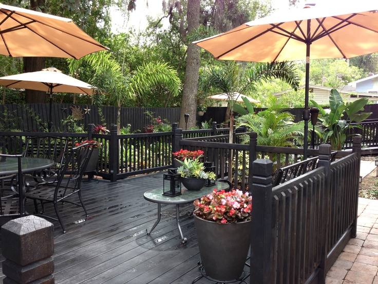 Backyard deck with black slate waterproof stain black for Garden decking varnish