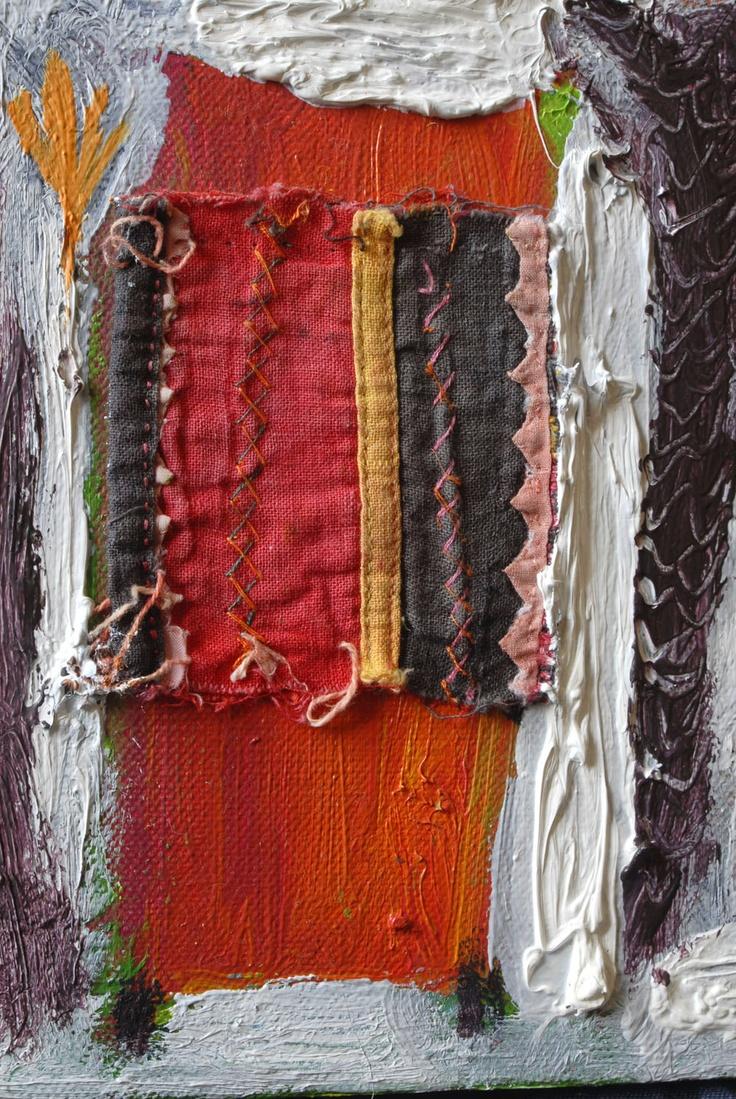 The Tree House (detail), oil & textile, 2006, Annukka Mikkola