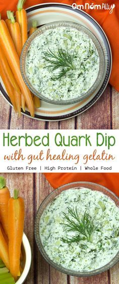Herbed Quark Dip with Gut Healing Gelatin @OmNomAlly | It's the potent mix of chives, dill and parsley that keeps people coming back for more of this dip. After combining this quark dip with gelatin and allowing it to set it transforms into something truly magnificent!