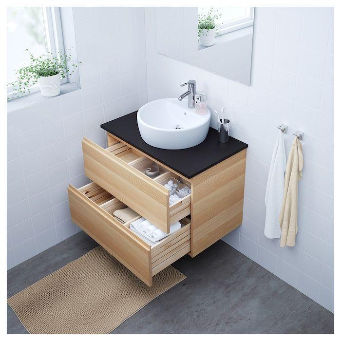 Cabinet Drawers Effect Godmorgon Ikea Oak Sink Stained White En 2020 Meuble Lavabo Lavabo A Poser Meuble Salle De Bain Ikea