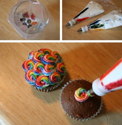 How To Pipe Rainbow Frosting http://www.chicaandjo.com/2008/09/18/colorful-swirled-cupcakes/
