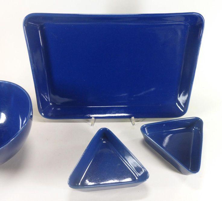Arabia Finland Kaj Franck Kilta Teema 4 Pieces Large Plate Bowls Blue   eBay