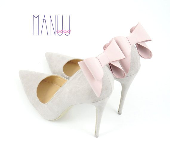 Light pink bows - shoe clips Manuu, wedding accessory, bridal shoes,