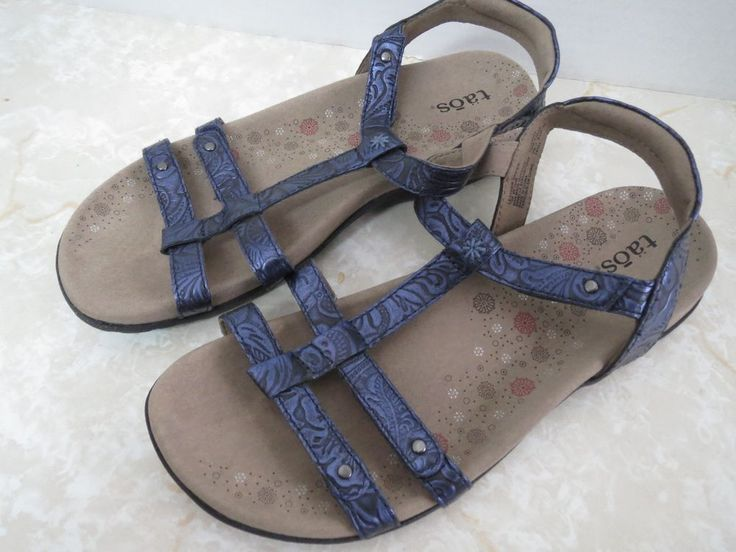 TAOS Trophy Comfortable Sandals Navy Blue Embossed Leather T STRAP Womens 7   #Taos #sandals #summer