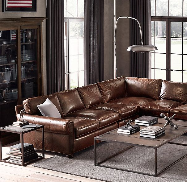 Lancaster Leather L-Sectional 137  / Italian Brompton-Cocoa / Down- : down sectionals - Sectionals, Sofas & Couches