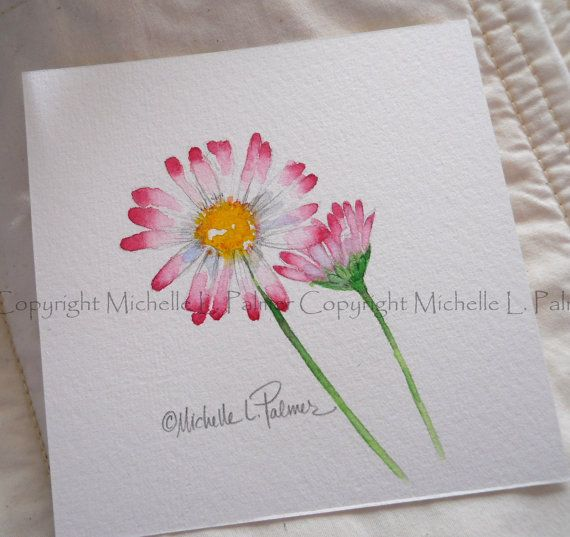 Original Watercolor Painting Art Pink Lawn English Daisy Flower Garden Study by Michelle L. Palmer