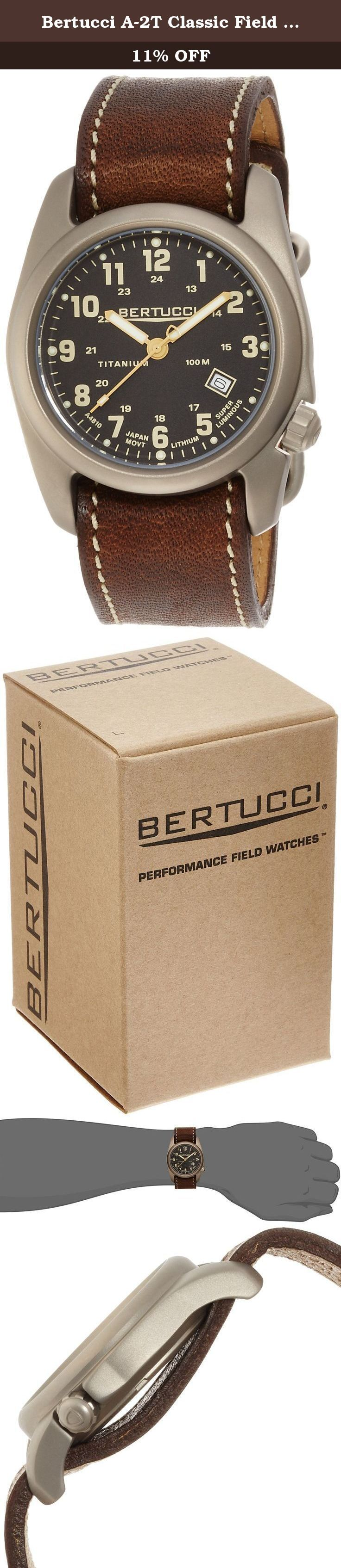 Bertucci A-2T Classic Field Watch Black/Ti-Horween Brown Band 12712. The solid titanium A-2T Original Classics strike the right balance between tradition and innovation. The rugged U.S. patented 40 mm case design is manufactured from solid titanium. a high performance alloy we believe to be the best material for a watch case. The A-2T Original Classics feature a clean classic dial that is easy to read. A watch that is ready for the rigors of the day.
