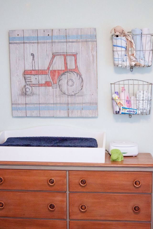 Cute tractor for boys nursery