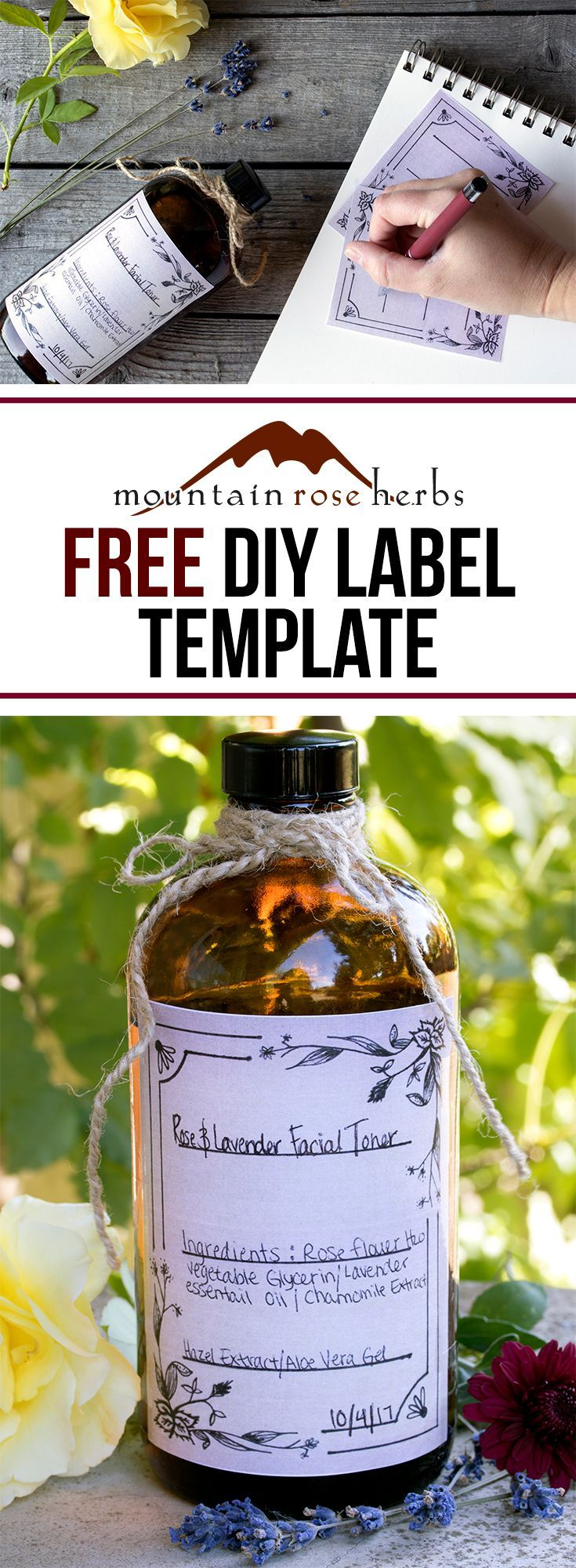 Print your own botanical label template for DIY products.