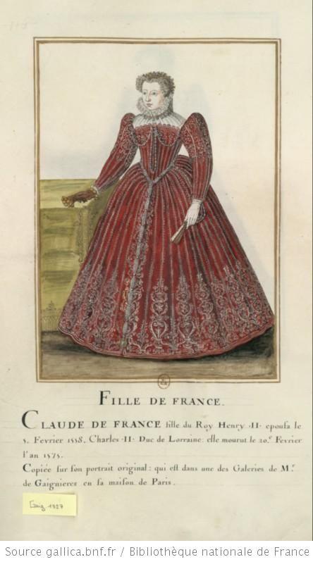 [Portrait de princesse en pied. Elle porte un grand costume rouge brodé d'argent] : [dessin] - Claude de France duchesse de Lorraine