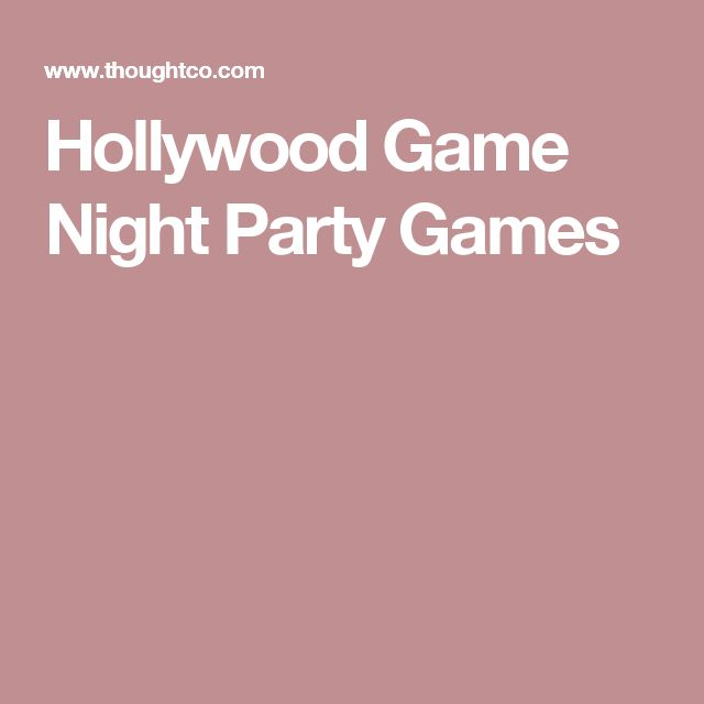 Hollywood Game Night Party Games