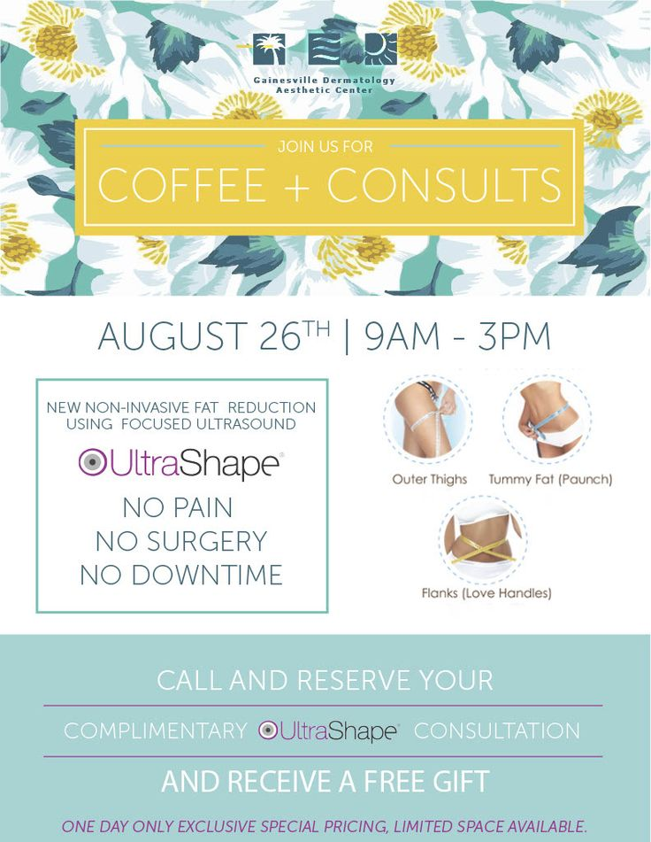 Join us for Coffee and Consults on August 26th. #ultrashape #nodowntime #nomoremuffintop #gainesville #dermatology