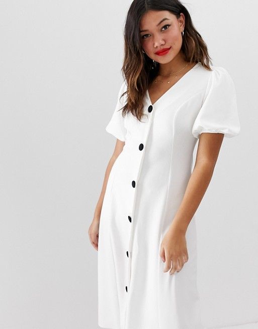 25af4b76cde6f ASOS DESIGN | ASOS DESIGN midi skater dress with puff sleeves and contrast  buttons