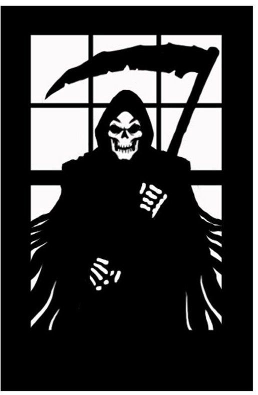 Halloween Horror Scary Window Silhouette Grim Reaper Death Decoration ...