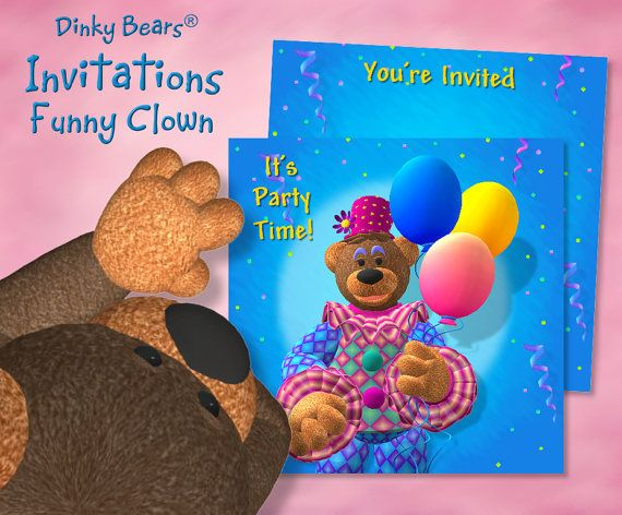 Dinky Bears - Clown with Balloons Invitations -  Digital by DinkyPrints
