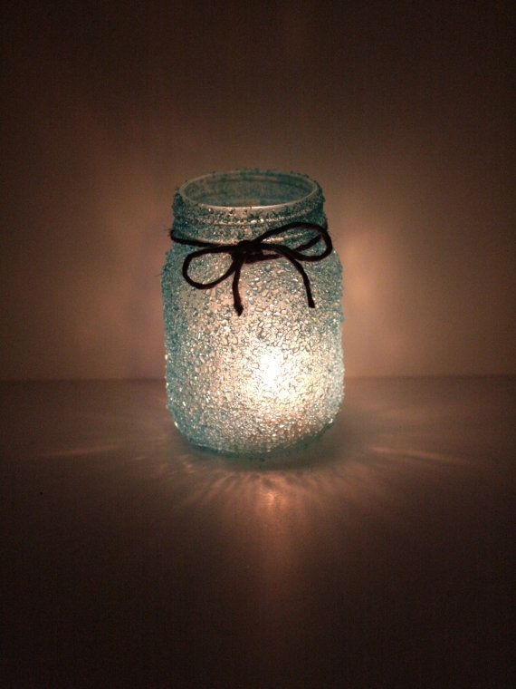 Crystal Frosted Glass Lantern Mason Jar Wedding Table