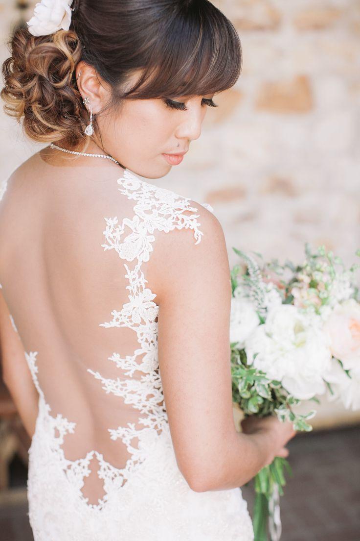 Sheer lace back wedding dress | fabmood.com