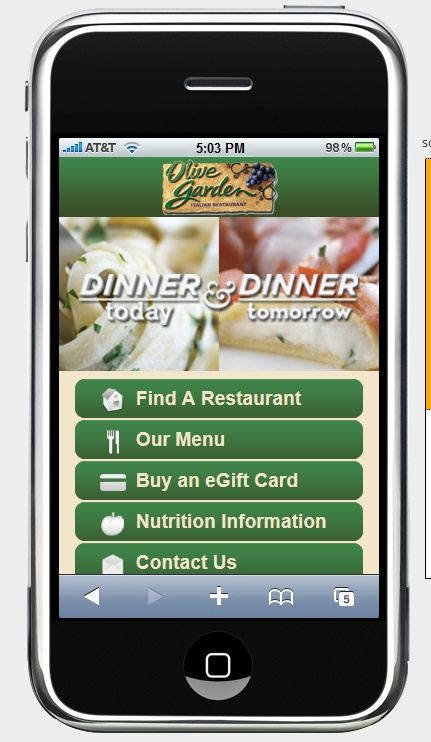 Mobile site For example, with a restaurant, the only thing a person really wants to see is hours, phone, and the menu.        The same is true when they're booking a place to stay. Most often when they're booking that they will be already in their car, or in their line somewhere. Either way, they want to make a decision right now.