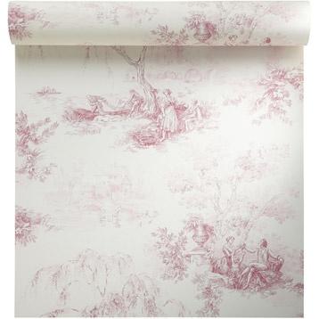 Papier Peint Vinyle Sur Intisse Toile De Jouy Rouge Larg 0 53 M