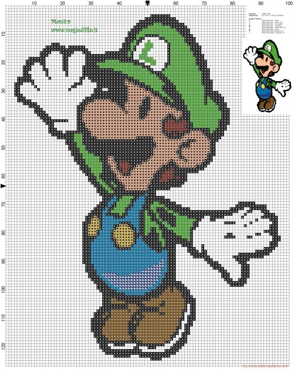 Luigi cross stitch pattern - free cross stitch patterns