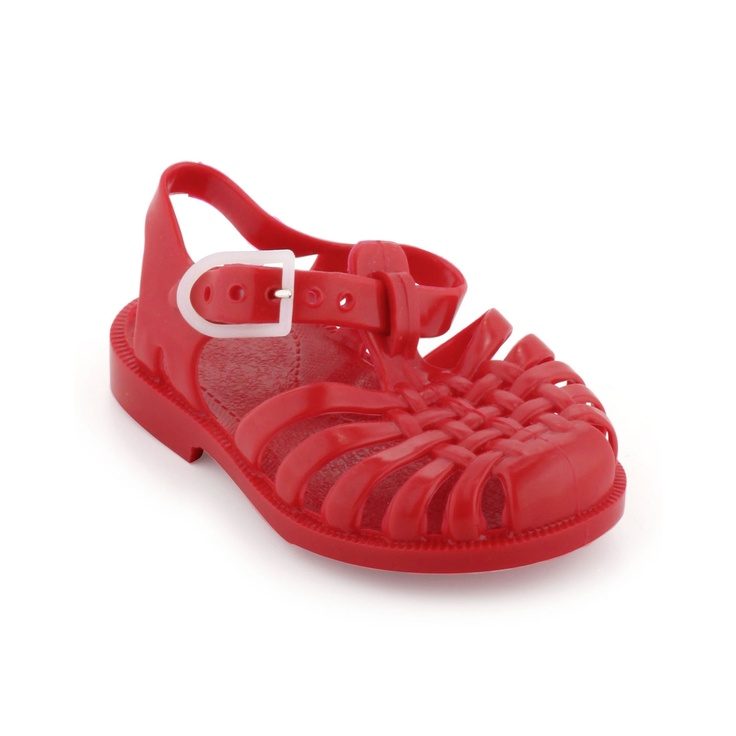 Red plastic sandals to walk in the sea. Adjustable buckle on the side.