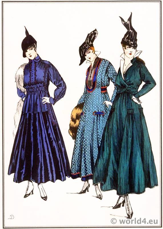 HaHa SIMPLE GOWNS 1915 by Lanvin, Dœuillet, Chéruit. Le Style Parisien. Art deco Fashion Magazine. French Parisiennes Collection Haute