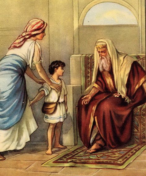 Hannah in Bible :D My namesake taking her son Samuel to the temple as she promised God she would :))