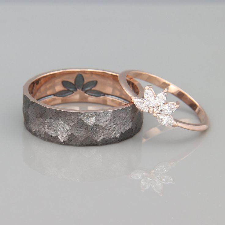 14K Rose Gold Marquise Diamonds Wedding Ring | Solid 14k rose gold Marquise Diamonds Engagement Ring