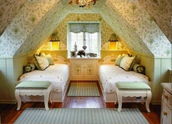 Sweet and simple: Little Girls, Attic Bedrooms, Bedrooms Design, Attic Spaces, Attic Rooms, Twin Beds, Guest Rooms, Girls Rooms, Kids Rooms