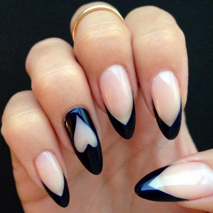 Navy blue pointy tips and heart detail #nailart