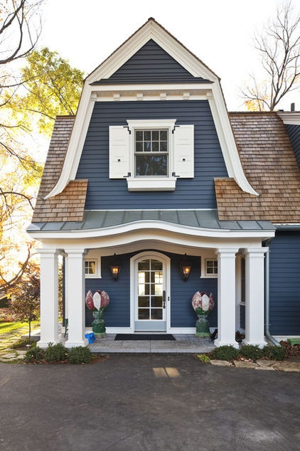 Curb Appeal With Gambrel Roof Shutters And Quaint Colors