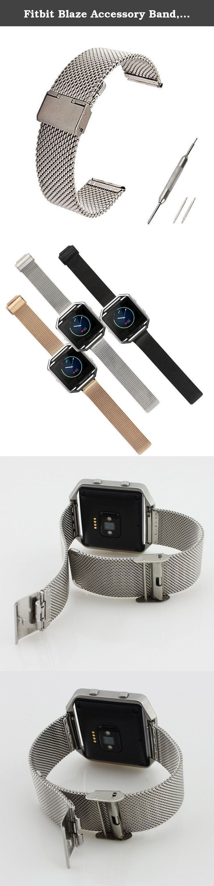 Fitbit Blaze Accessory Band, Large, Ecsem® Stainless Steel Wrist Bands Buckle for Fitbit Blaze Only / Replacement Band for Fitbit Blaze /No Tracer or other parts (Large, Mesh Silver). Fitbit Blaze Accessory Band, Ecsem® Large Stainless Steel Wrist Bands Buckle for Fitbit Blaze Only / Replacement Band for Fitbit Blaze /No Tracer or other parts.