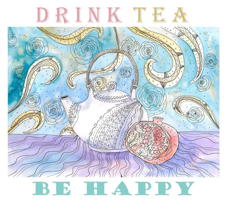 PRINTABLE Art Print, DRINK TEA be happy, Instant Download, Tea, Digital File, Quote Poster by RecipesOfHappiness on Etsy