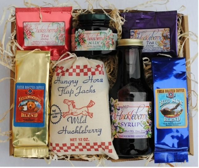 Breakfast in the Mountain Gift Box. A delicious assortment of Montana made breakfast treats including huckleberry pancake mix, huckleberry syrup, chokecherry jam, teas and coffee.  Made in Montana.