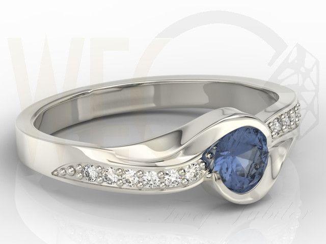 Pierścionek z białego złota z szafirem i cyrkoniami / Ring made from white gold with a sapphires and zircons / 937 PLN #gold #ring #fashion #jewellery #jewelry #mother_day