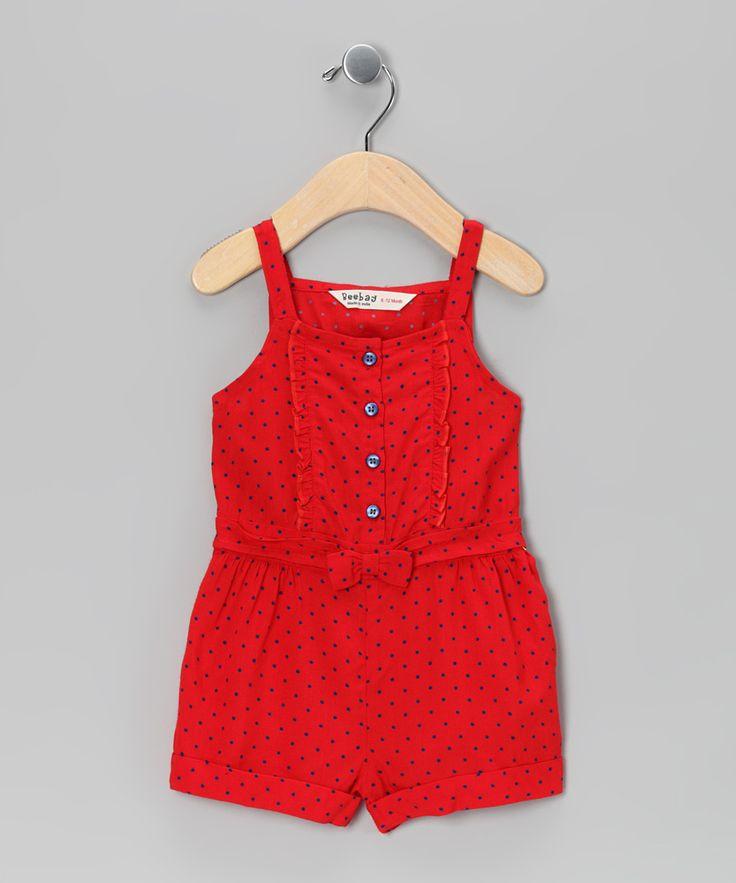 Red & Blue Polka Dot Romper - Infant, Toddler & Girls