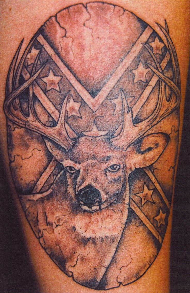 tatoo | Deer Rebel Flag Tattoo-- my man would really enjoy this tattoo idea!