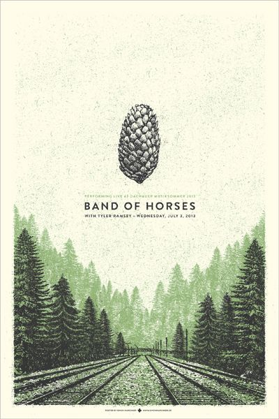 Band of Horses pinecone gig poster by Simon Marchner