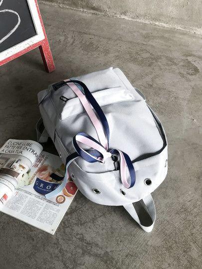 18ee25e5d1 Eyelet Detail Ribbon Decor Backpack | Backpack | Backpacks, Ribbon, Bags