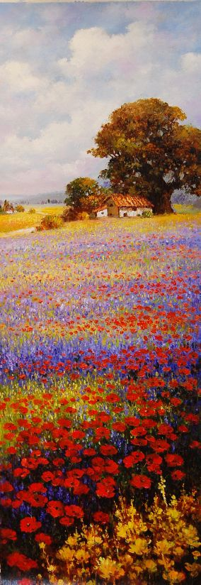 """Tuscany Fields"" 36 x 12 oil on canvas by Paul Guy Gantner"